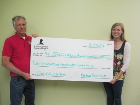 Club treasury is presenting a check to the St Jude Children's Hospital from the club Cruise-In